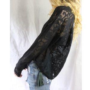 Allen Allen Black Floral Lace Sheer L Sleeve Top !